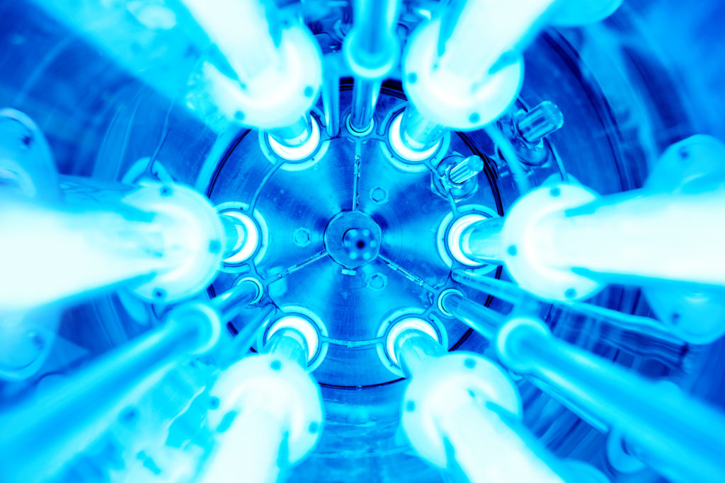 Ultraviolet lamps in a water disinfection plant